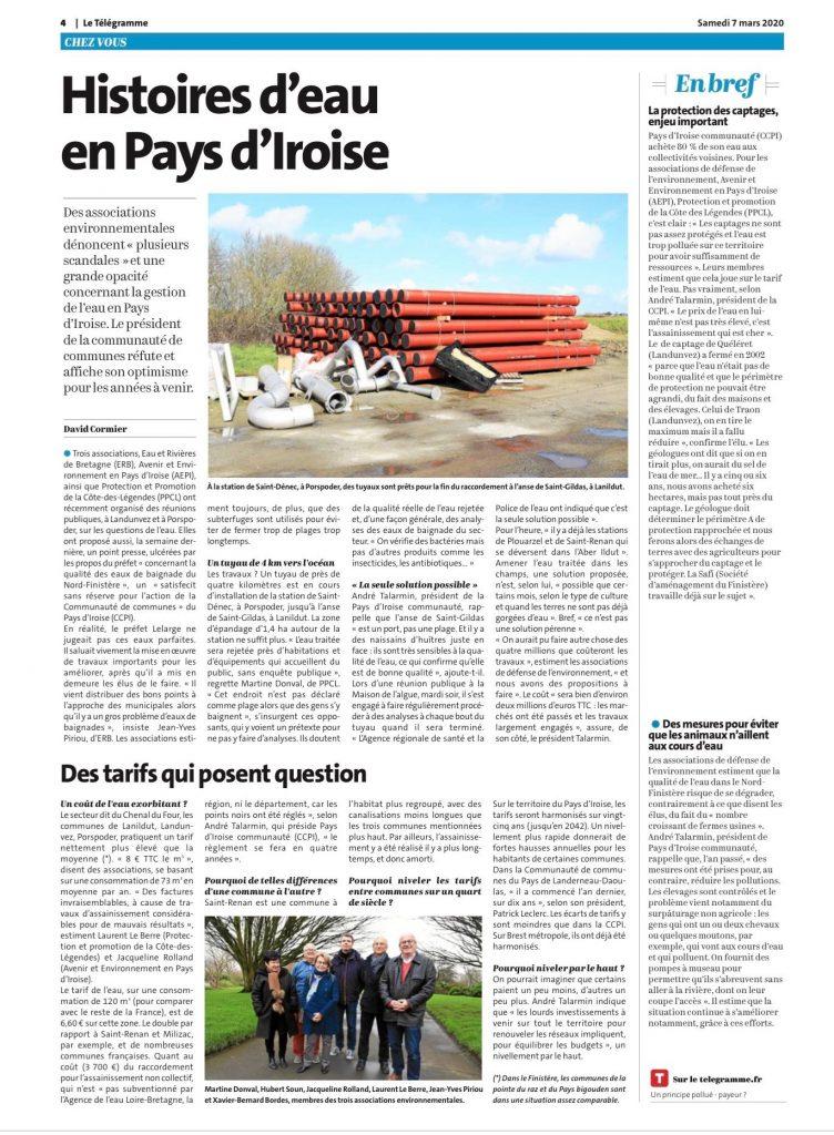 Article Histoire d'eau en Pays d'Iroise paru dans le Télégramme le 7 mars 2020
