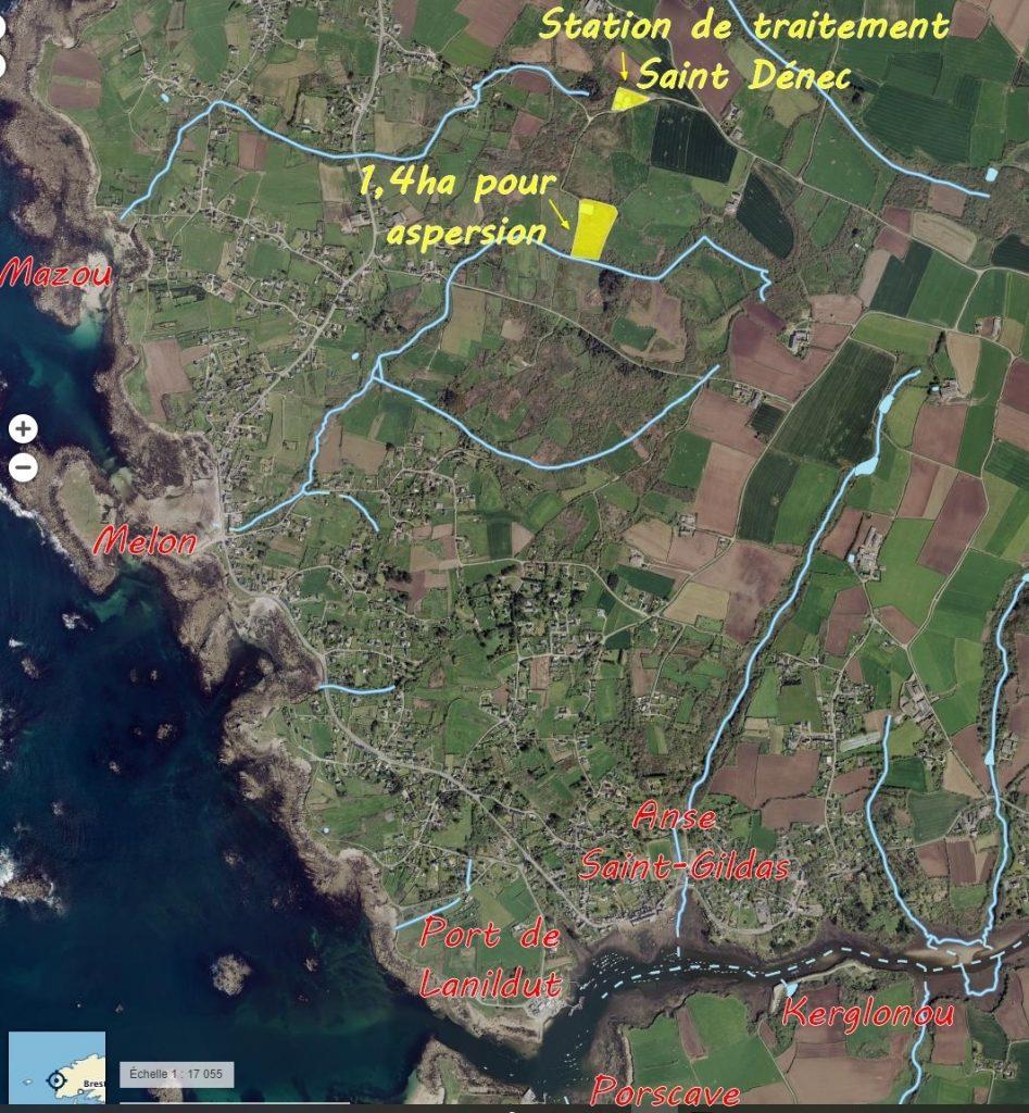 Carte réalisée par APPCL : rejets de la station St Dénec à Porspoder dans l'Aber Ildut.
