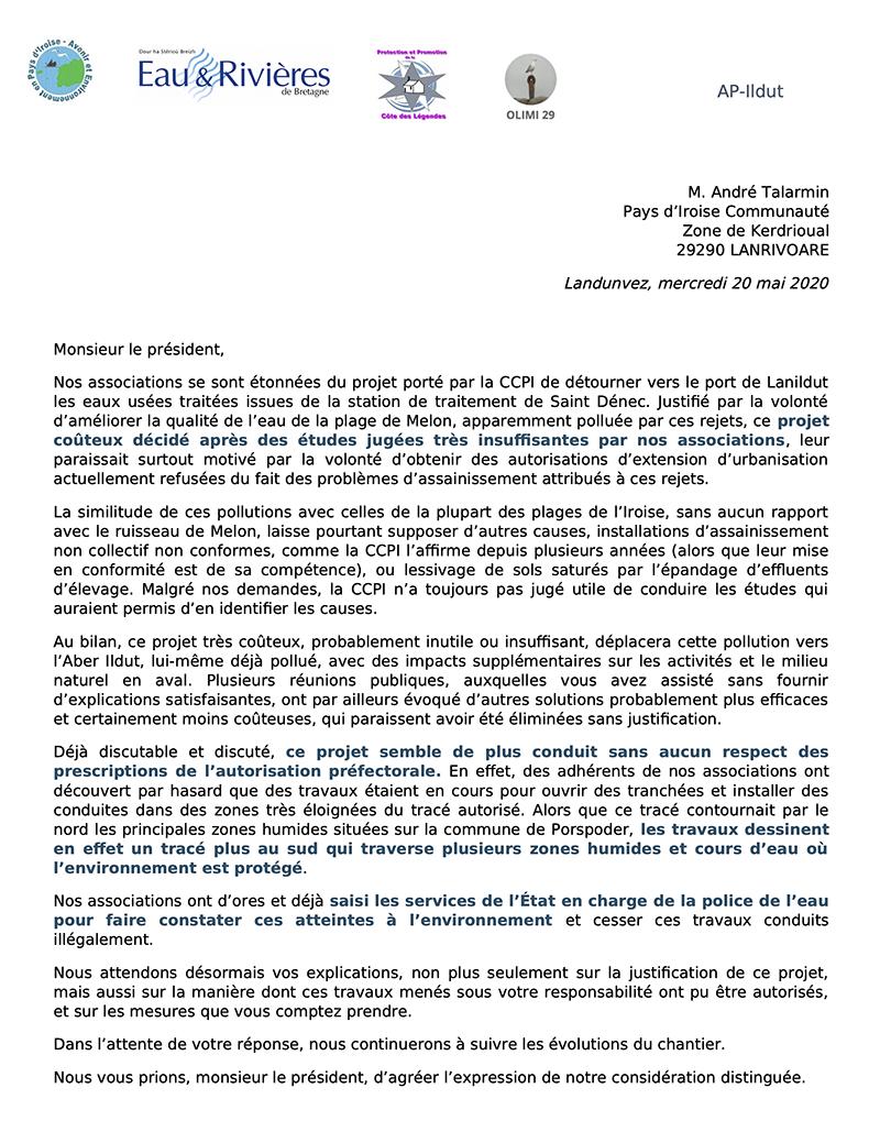 Lettre ouverte du 20 mai 2020