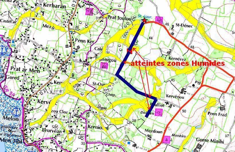 Le tracé initial de la canalisation n'est pas respecté à St Dénec
