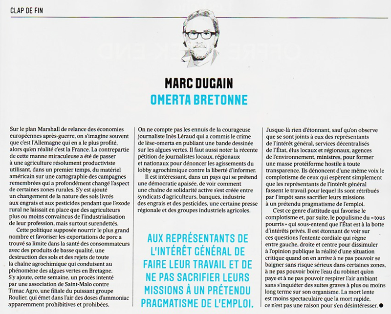 Omertà bretonne, par Marc Dugain (Clap de Fin, Les Echos)