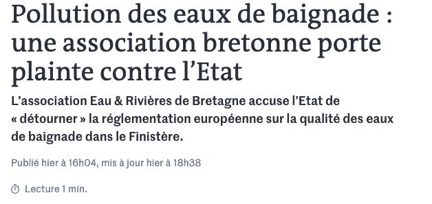 Pollution des eaux de baignade: une association bretonne porte plainte contre l'État