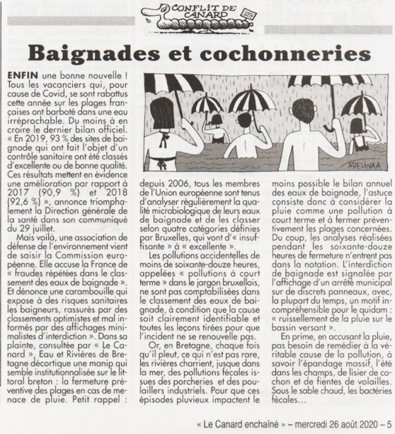 Baignades et cochonneries : article du Canard enchaîné, 26/08/2020